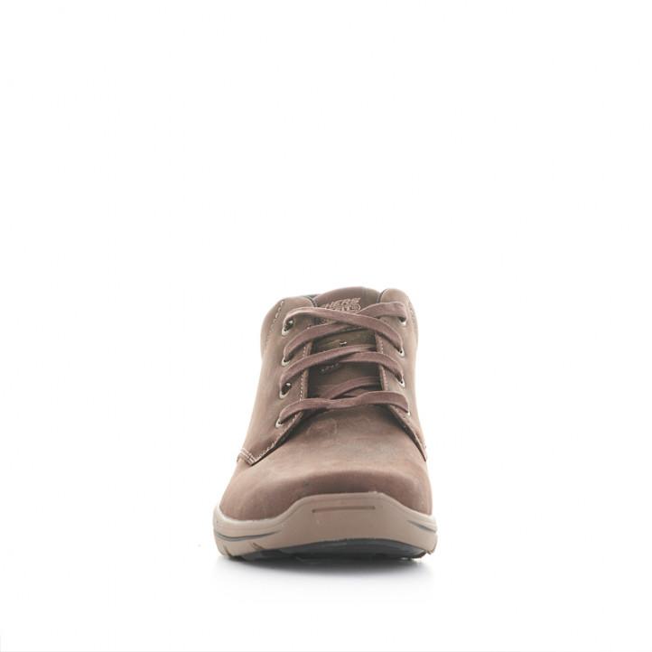 Botins Skechers marrons de pell i amb cordons - Querol online
