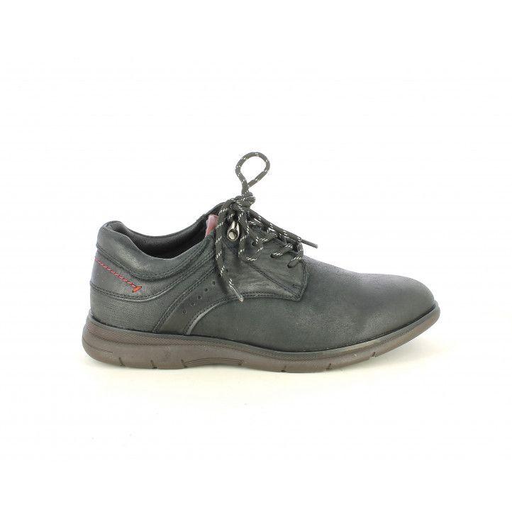 Zapatos vestir Vicmart negros con cordones , detalle costura roja - Querol online