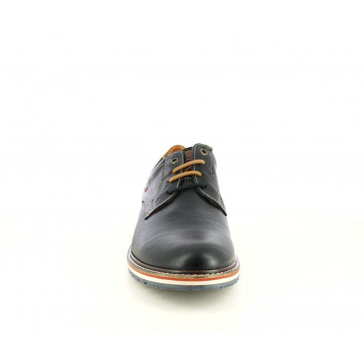 Zapatos vestir Lobo negros con cordones y detalles marrones - Querol online
