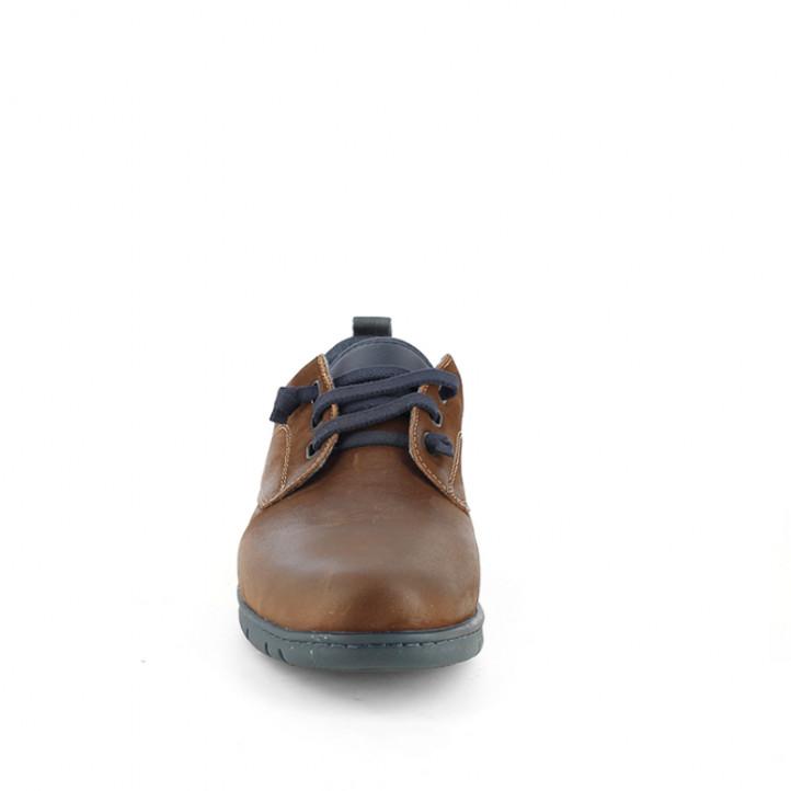 Zapatos sport ONFOOT marrones de piel con suela y cordones azules - Querol online