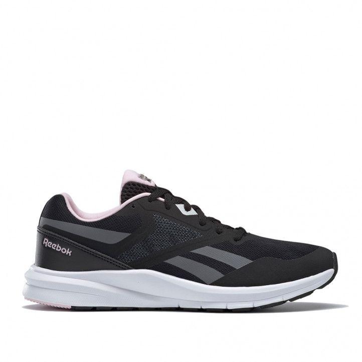 Zapatillas deportivas Reebok negras con detalles en gris y rosa runner 4.0 - Querol online