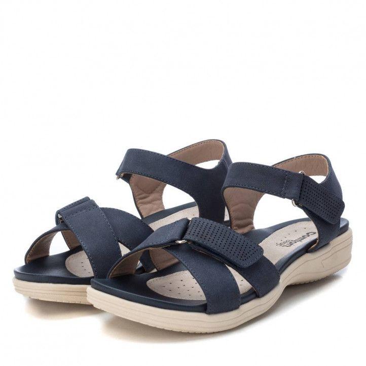 Sandalias planas Xti azules con tiras y cierres de velcro - Querol online