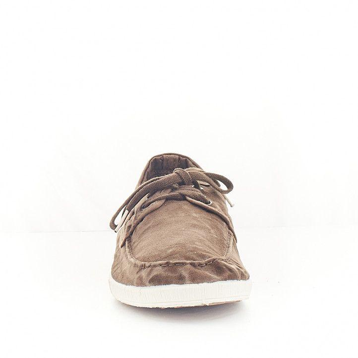 Zapatos vestir NATURAL WORLD tipo náutico marrón efecto desgastado - Querol online