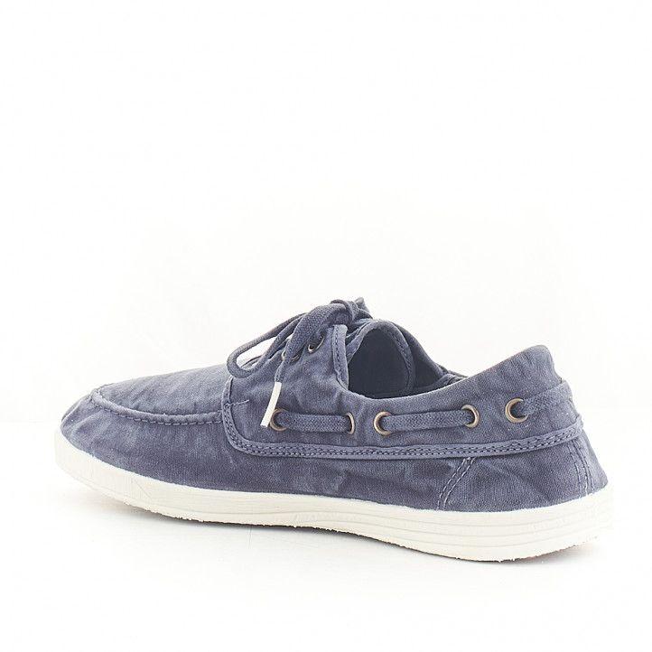 Zapatos vestir NATURAL WORLD tipo náutico azul efecto desgastado - Querol online