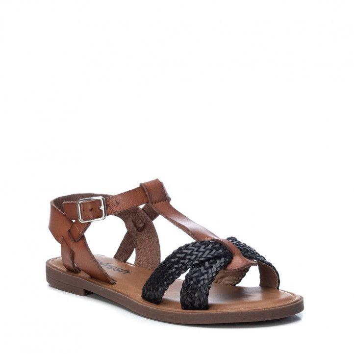 Sandalias planas Refresh con doble tira negra trenzada - Querol online