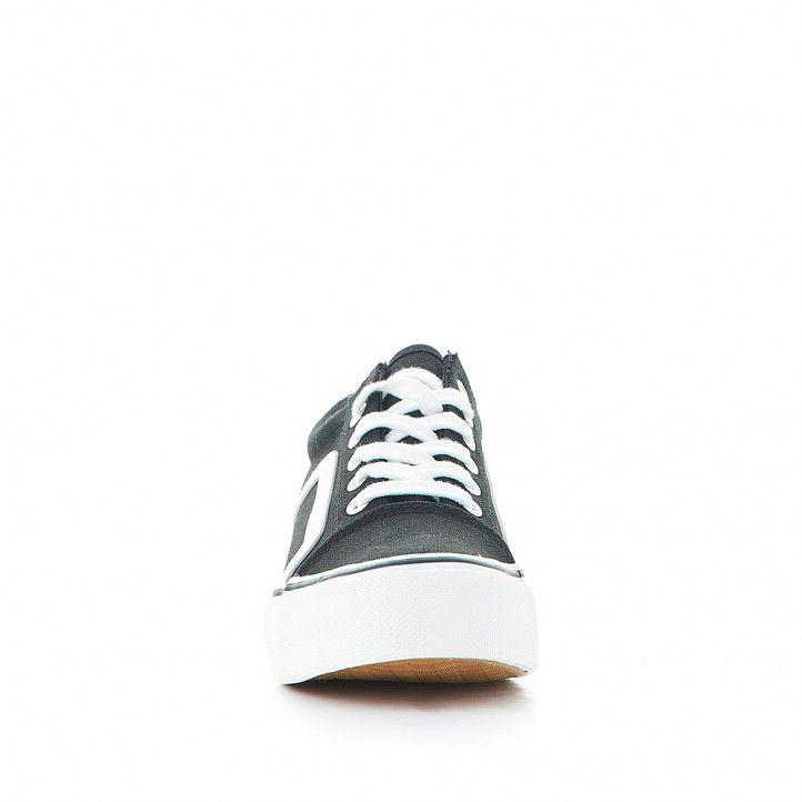 Sabatilles lona Owel negra es amb línia lateral blanca - Querol online