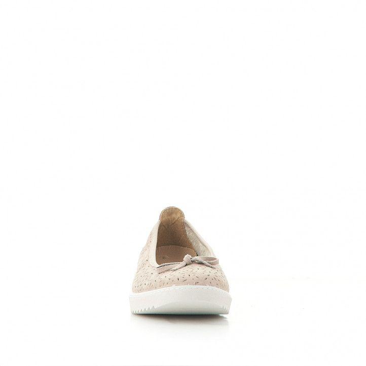 Bailarinas Vulladi perforada color crema con lazo - Querol online