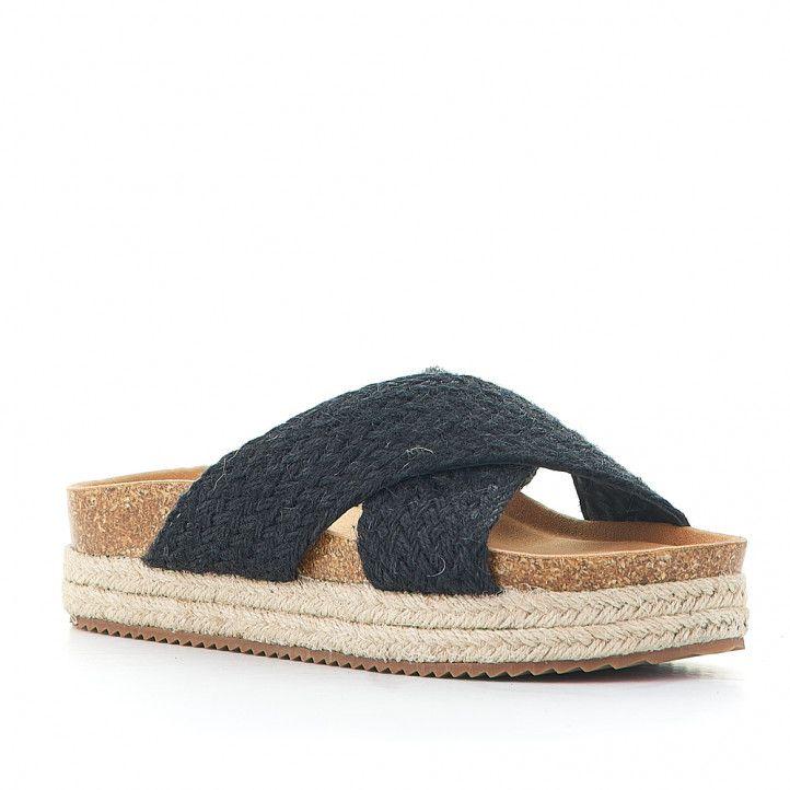 Sandàlies plataformes Owel andros amb tires creuades negres - Querol online