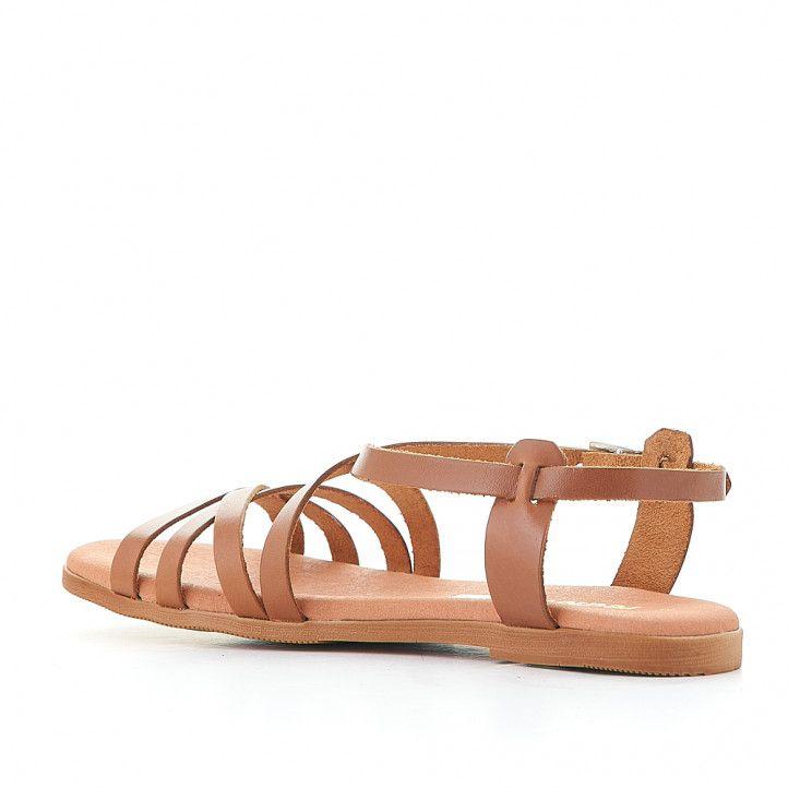Sandalias planas Redlove joana marrón con multiples tiras - Querol online