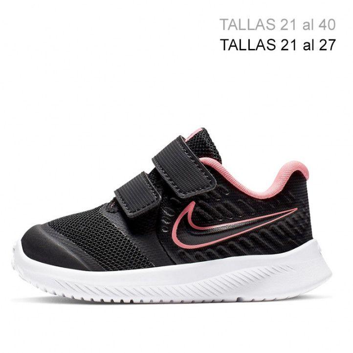 Zapatillas deporte Nike star runner negra con detalles en rosa flúor - Querol online