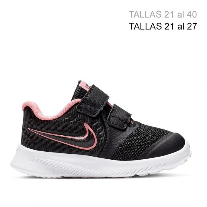 Sabatilles esport Nike star runner negre amb detalls en rosa flúor - Querol online