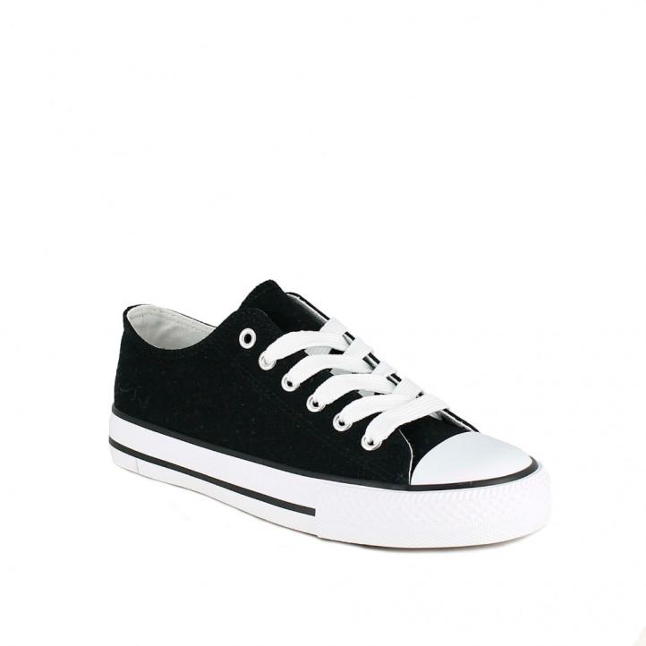 Zapatillas lona Owel negras bajas con cordones - Querol online