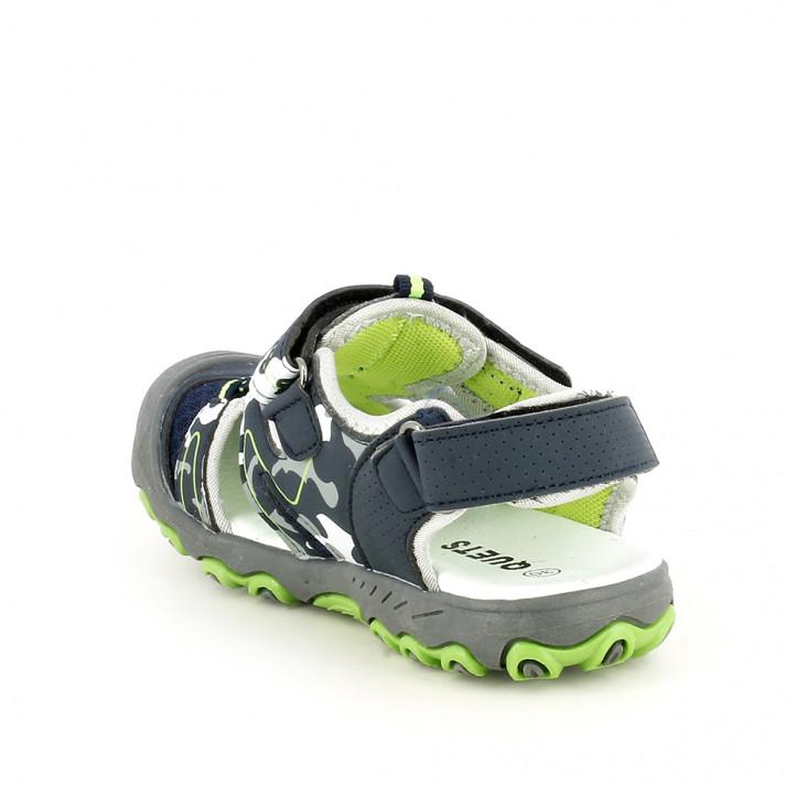 sandalias QUETS! cerradas azules y verdes con velcro y elásticos - Querol online