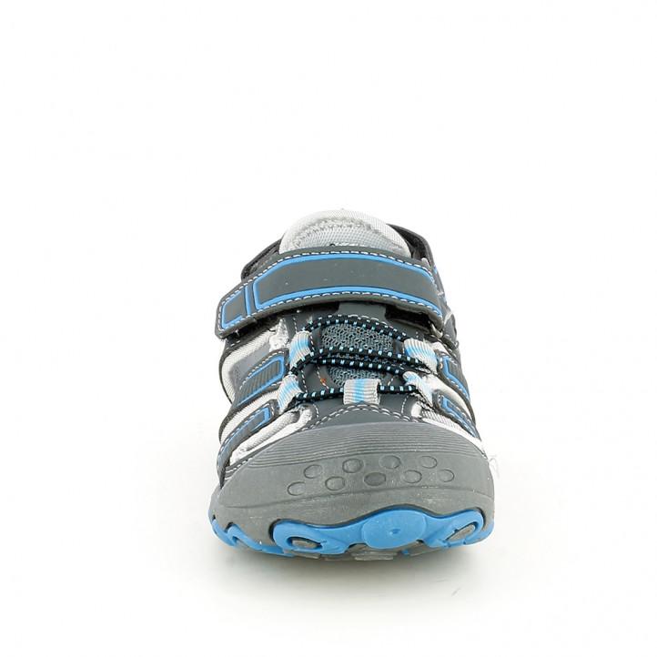 sandalias QUETS! cerradas azules y grises con doble velcro - Querol online