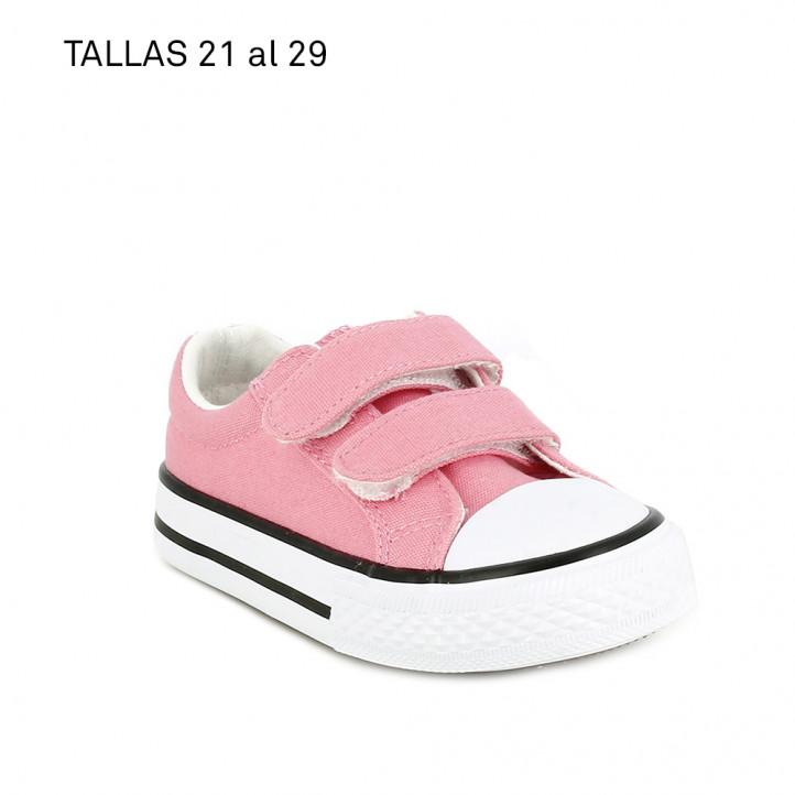 Zapatillas lona QUETS! rosas con suela blanca - Querol online