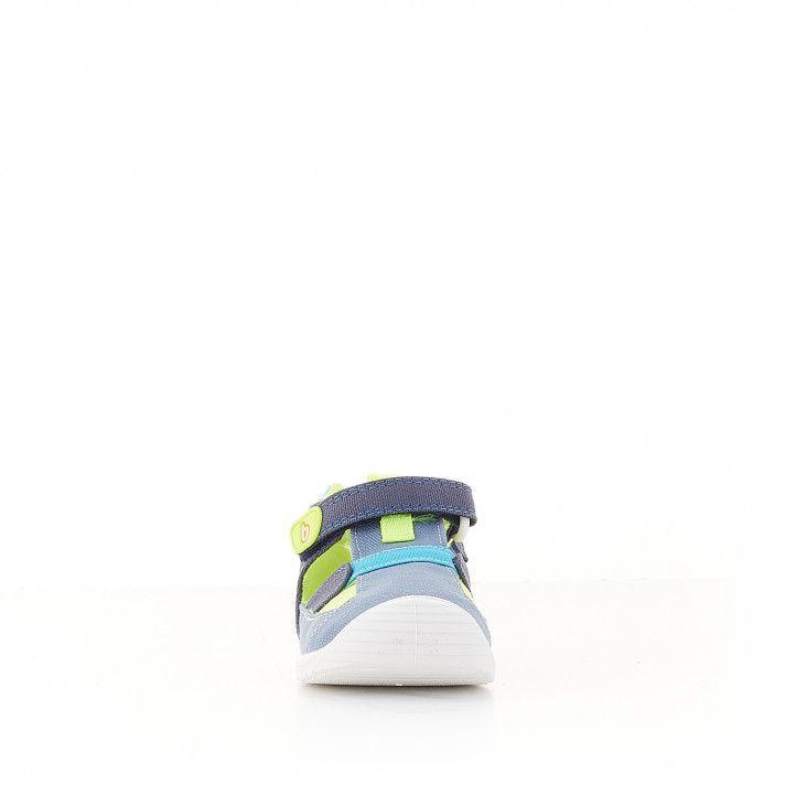 Sandalias abotinadas Biomecanics azules y pistacho - Querol online