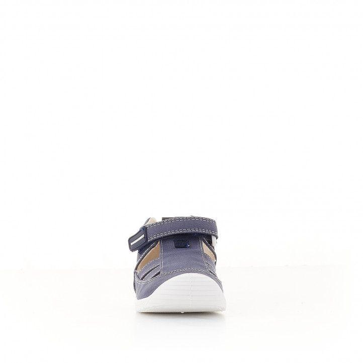 Sandàlies abotinades Biomecanics blau marí de cotó amb plantilla de pell extraïble - Querol online