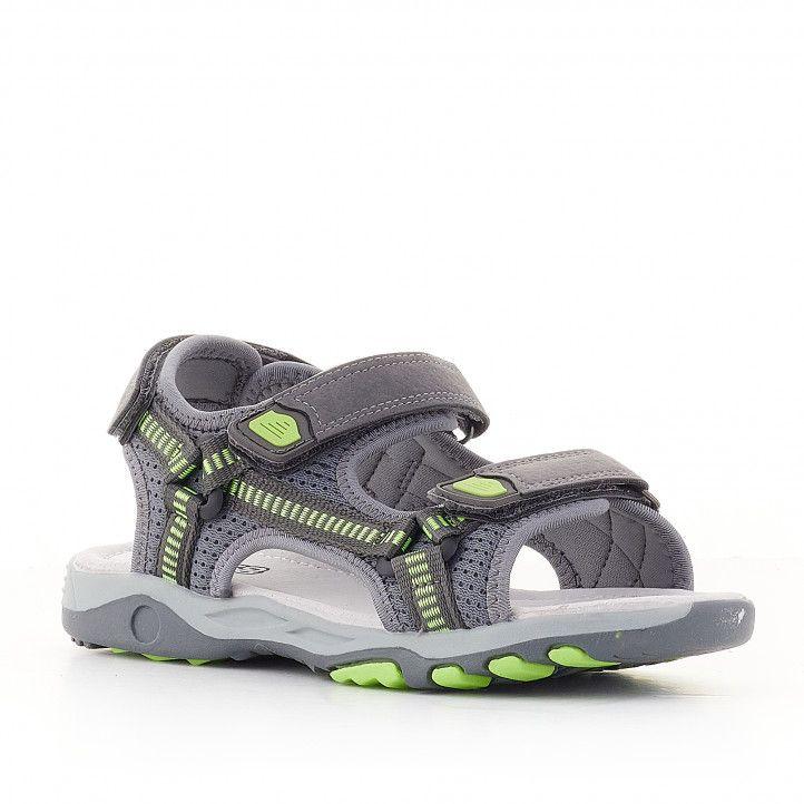 sandalias CRECENDO grises con detalles verdes - Querol online