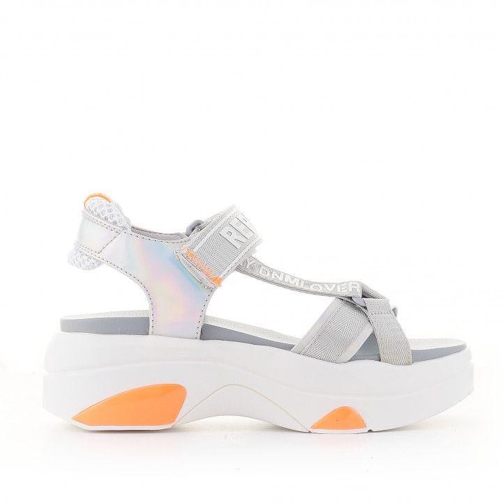 Sandalias plataformas Replay plateadas con detalles naranjas - Querol online