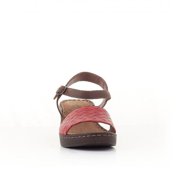 Sandalias tacón Walk & Fly marrones con pala roja - Querol online