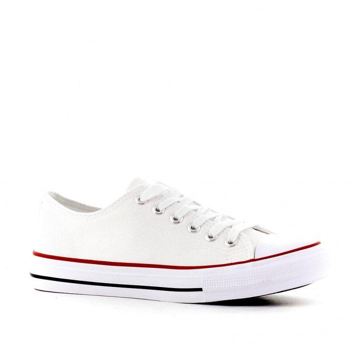 Zapatillas lona Owel quincy blanca con puntera reforazada - Querol online