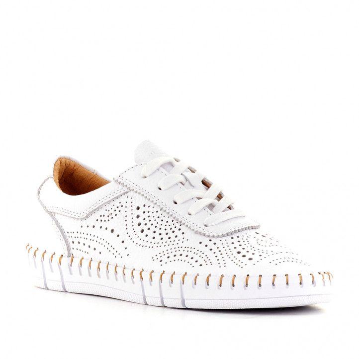 Zapatos planos The Happy Monk creta con piel perforada - Querol online