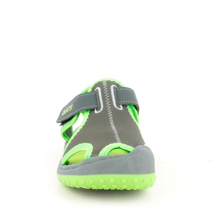 sandàlies QUETS! tancades grises i verdes amb velcro - Querol online