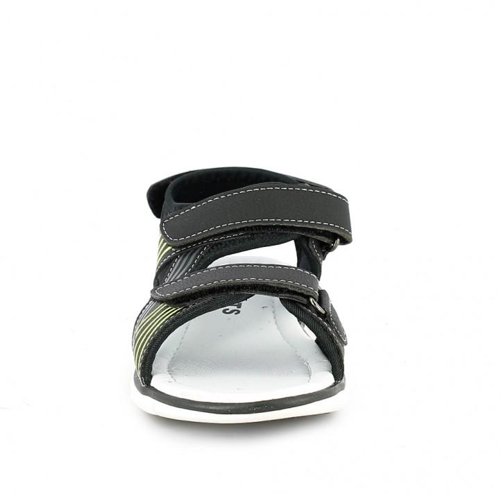 sandalias QUETS! cerrdas negras con triple velcro - Querol online