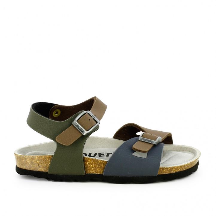 sandàlies QUETS! marrons, verdes i blaves amb dues sivelles - Querol online