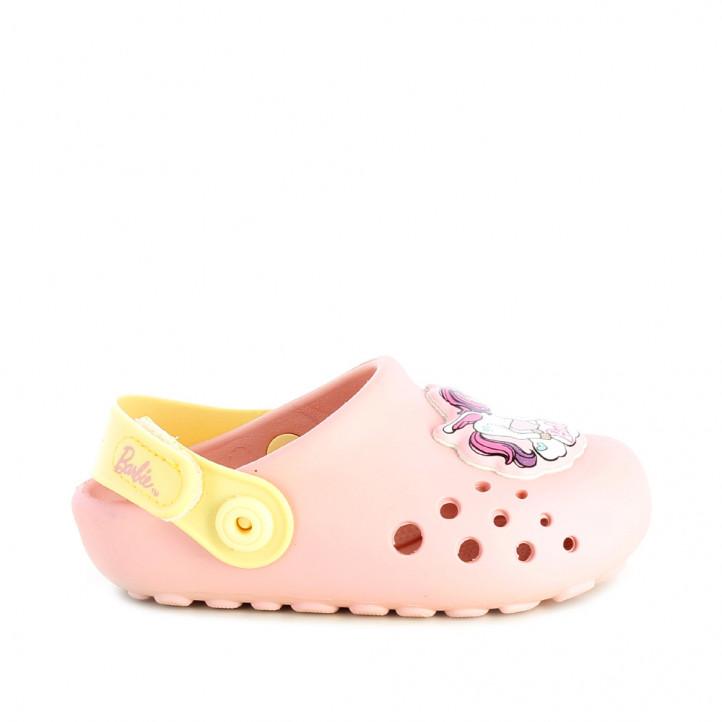 Chanclas Ipanema zuecos rosas y amarillos con velcro y unicornio - Querol online