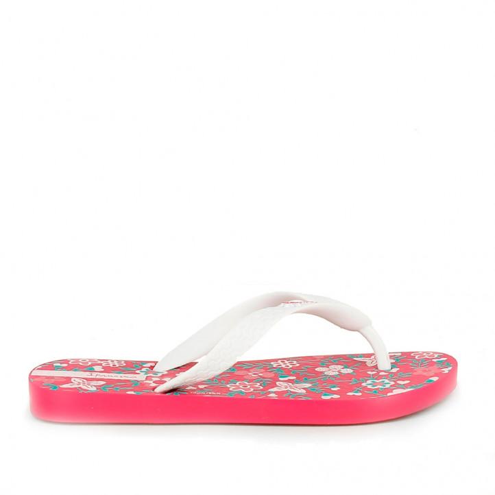 Chanclas Ipanema rosas y blancas con estampado floral - Querol online