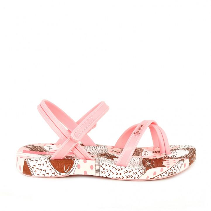 Chanclas Ipanema rosas de tiras con estampado de gatos y velcro - Querol online