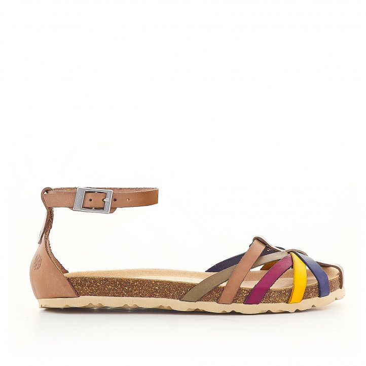 Sandàlies planes Yokono agafades al turmell i tires multicolor - Querol online