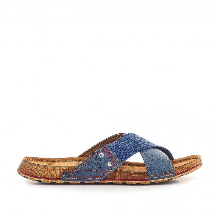 Sandalias In Blu color azul de tiras cruzadas - Querol online