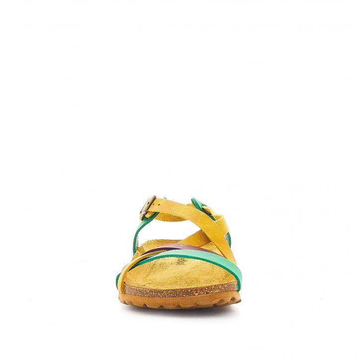 Sandàlies planes Redlove africa mostassa, verd i lila - Querol online