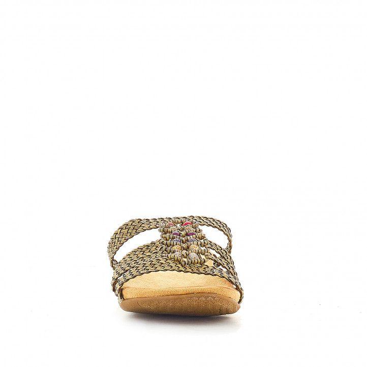 Sandàlies planes Deity daurades amb pedres en el frontal - Querol online