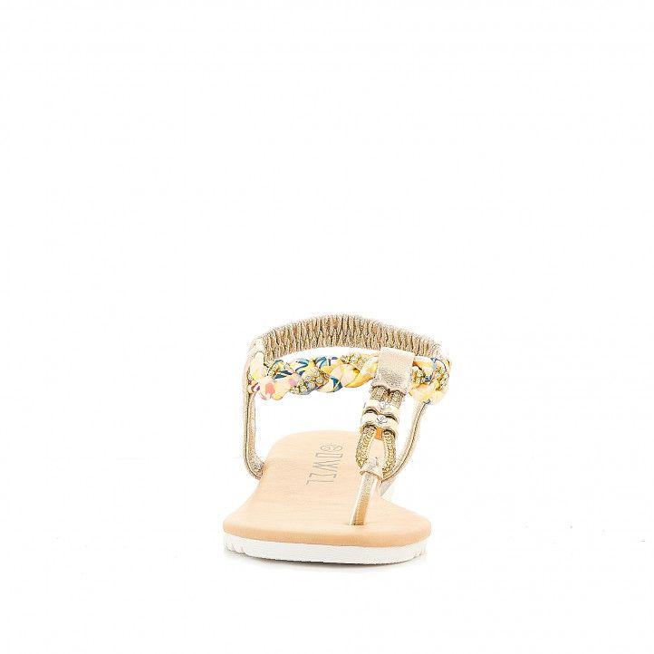 Sandàlies planes Owel solta daurada amb granadures - Querol online