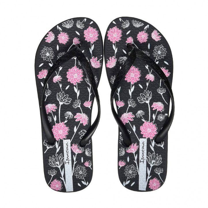 Chanclas Ipanema negras con detalles florales - Querol online