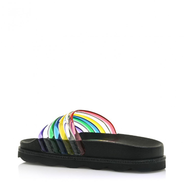 Chanclas SixtySeven 67 negras de plataforma con tiras multicolor - Querol online