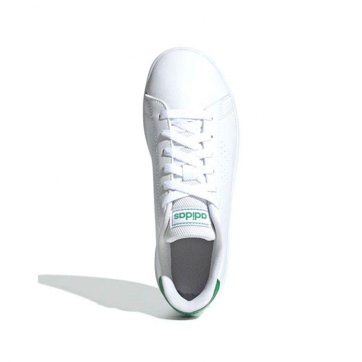 Zapatillas deportivas Adidas advantage en blanco y detalles verdes - Querol online