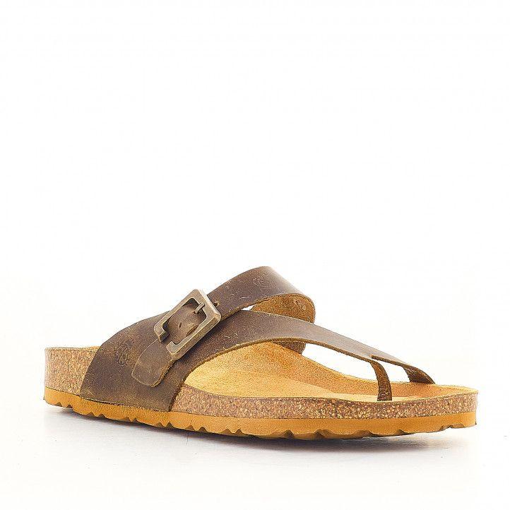 Sandalias planas Yokono con hebilla grande color cuero - Querol online