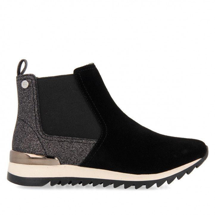 Zapatillas deporte Gioseppo en piel y glitter negro para niña linz en tallas 30 y 31 - Querol online