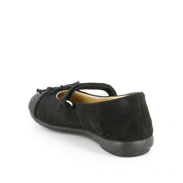 Merceditas Vulladi negras con puntera en téxtil brillante - Querol online