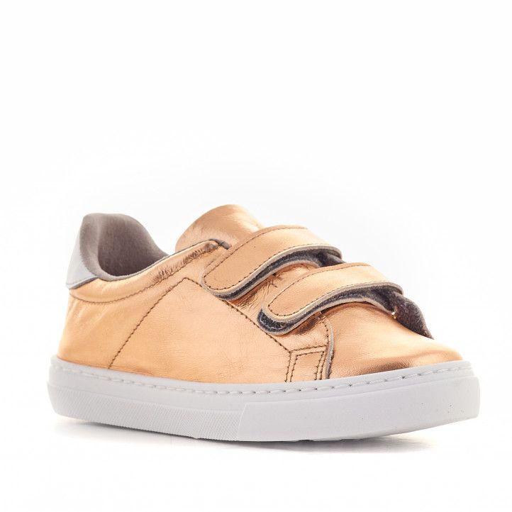 Zapatillas deporte QUETS! dorada con doble velcro - Querol online