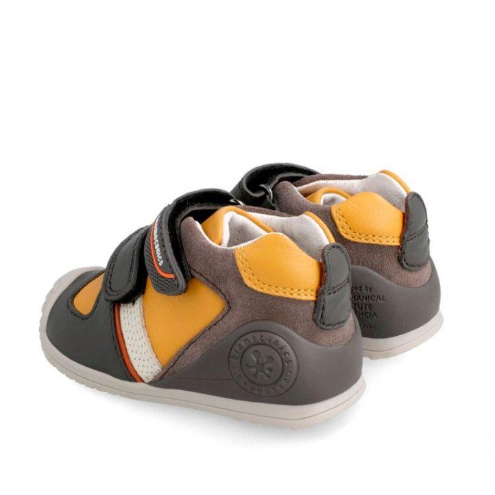 Zapatos abotinados Biomecanics kakis con interior mostaza - Querol online