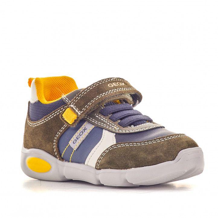 Zapatillas deporte Geox verdosas con fondo azul y detalles amarillos - Querol online