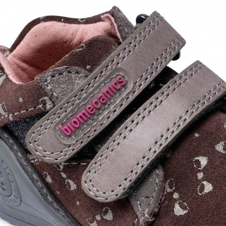 Zapatos abotinados Biomecanics marrones con lazos plateados - Querol online