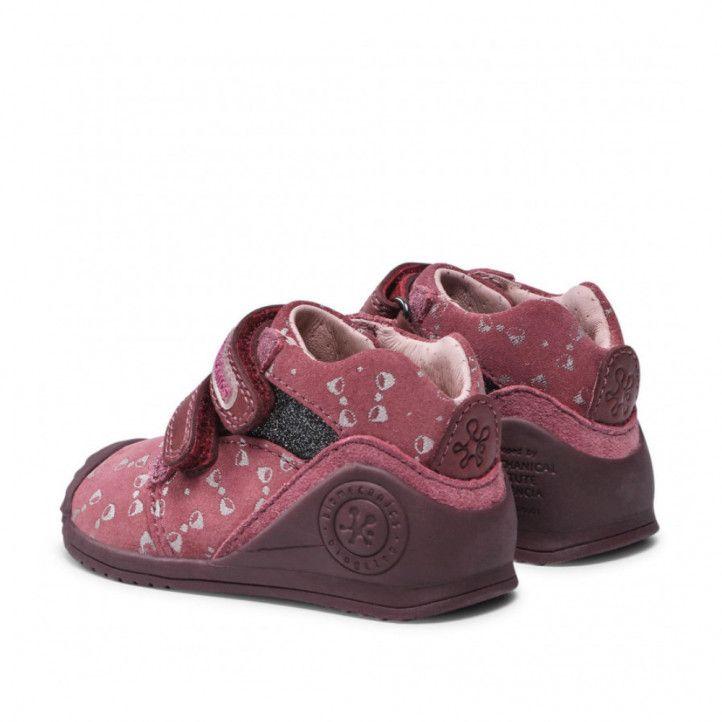 Zapatos abotinados Biomecanics rosas con lazos plateados - Querol online