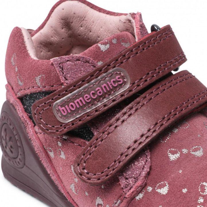 Sabates abotinades Biomecanics rosas con lazos plateados - Querol online