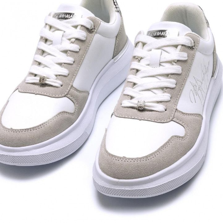 Zapatillas Maria Mare en color blanco con detalles en gris - Querol online
